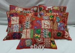 Patchwork Cushion Cover Red Handmade Boho Indian Pillow Case Home Decor New Art