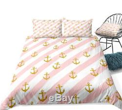 Pink White Stripe Anchor Ocean Double Single Quilt Duvet Pillow Cover Bed Set
