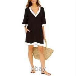 RALPH LAUREN Cute Black & White Tunic Cover-Up Summer Dress Womans Large NWT