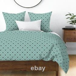 Retro Duck Egg Blue And Brown Anchor Ship Ocean Sateen Duvet Cover by Roostery