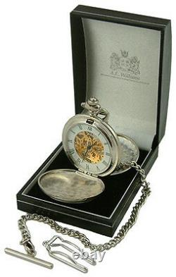 SCOTTISH THISTLE MECHANICAL SILVER POCKET WATCH Pewter Cover AEW UK ENGRAVABLE