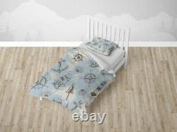 Sailboat Anchor Lighthouse Kids Map Blue Duvet Cover Set Zipper Pillow Cover