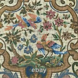 Very Old Tapestry Penelope Canvas x 2 to sitch & cover a chair Birds & Scrolls