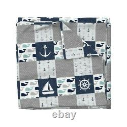 Whale Anchor Whale Patchwork Wholecloth Cheater Sateen Duvet Cover by Roostery