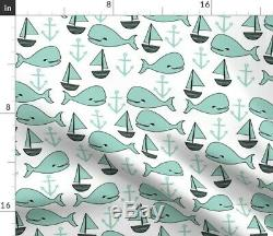 Whale Nautical Ocean Nursery Decor Anchor Sateen Duvet Cover by Roostery