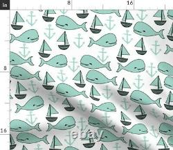 Whale Nautical Ocean Nursery Decor Anchor Sateen Duvet Cover by Roostery