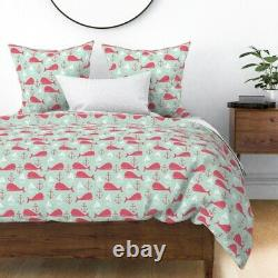 Whale Nautical Preppy Anchor Sailboat Whales Sateen Duvet Cover by Roostery