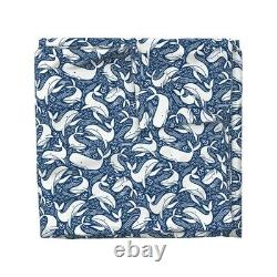 Whales Nautical Ocean Sea Water Anchor Blue White Sateen Duvet Cover by Roostery