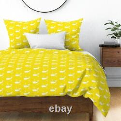 Yellow Whales Nautical Anchors Ocean Summer Fish Sateen Duvet Cover by Roostery
