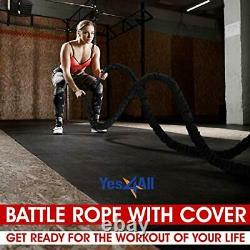 Yes4All Battle Exercise Training Rope with Protective Cover Steel Anchor &
