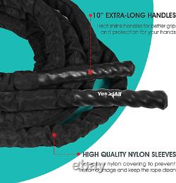 Yes4All Battle Exercise Training Rope with Protective Cover Steel Anchor & Str