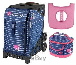 Zuca Sport Bag ANCHOR MY HEART withGIFT Lunchbox and Seat Cover (Black Frame)