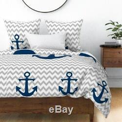 Anchor Chevron Chevron Gris Bleu Marine Nursery Sateen Housse De Couette Roostery