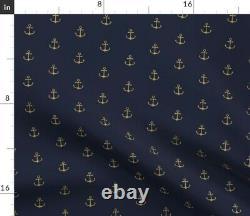 Anchor Gold Navy Marine Marine Marine Water Sateen Duvet Couverture Par Spoonflower