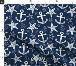 Anchor Nautique Starfish Navy Ocean Nautical Sateen Couverture De Duvet Par Coq