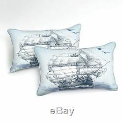 Anchor Navire Ocean Sea Quilt Blue King Double Simple Couette Oreiller Ensemble Housse De Lit