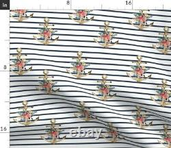 Anchor Stripes Floral Rose Bleu Été Nautical Sateen Couverture De Couettes Par Coq