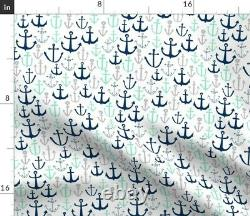 Ancres // Mint Navy And Grey Anchor Summer Sateen Duvet Cover By Roostery