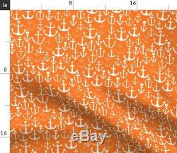 Ancres Orange Ancre Nautique Ancre Sateen Housse De Couette Roostery