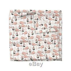 Baleine Rose Nautique Voilier Ancre Nursery Sateen Housse De Couette Roostery