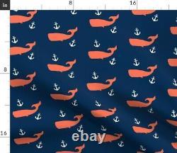 Baleines De Corail + Ancres Blanches Nursery Sateen Couverture De Duvet Par Coq