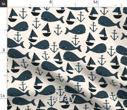 Baleines Nautiques Anchor Baleine Voilier Nursery Sateen Duvet Couverture Par Roostery