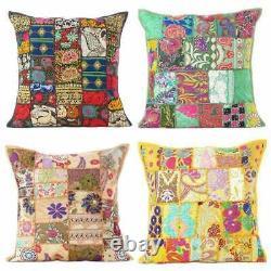 Cotton Patchwork Cushion Cover Handmade Boho Indian Pillow Case Home Décor Nouveau