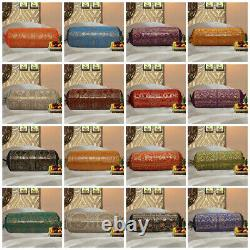 Indian Bed Bolster Coussin Cover Wedding Decor Brocade Silk Pillow Cases 30 X 15