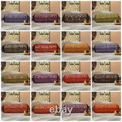 Indian Bolster Cover Elephant Pillow Bedding Cylinder Neck Bolster Brocade Silk