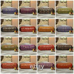 Indian Brocade Bolster Cushion Cover Cylinder Traditional Ethnic Design Neck 30