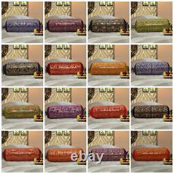 Indian Elephant Designer Bolster Cover Decorative Cylinder Shape Bolster Oreillers