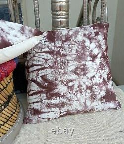 Indian Handmade Tie Dye Shibori Coussin Cover 16x16 Indigo Throw Pillows S 2062