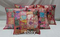 Indian Patchwork Cushion Cover Mehron Boho Handmade Pillow Case Home Décor Nouveau