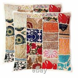 Indian Patchwork Cushion Cover White Boho Handmade Pillow Case Home Décor Nouveau