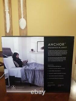 Malouf Anchor Couverture Pondérée Queen Ash Avec Couvercle En Velours De Coton 60x80 20lb