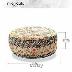 Mandala Life Art Bohemian Yoga Décor Plancher Coussin Couverture 60x20 CM Rond Medi