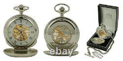 Mariners Double Hunter Mechanical Pocket Watch Mens Ships Anchor Cover Gravé