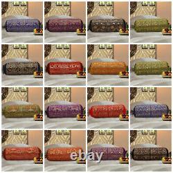 Méditation Indienne Main Main Bolster Pillow Case Cover Coussin Jeter Brocade De Soie