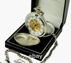 Mens Plain Silver Couvre Mécanique Hunter Pocket Watch Handsome Gift Gravé