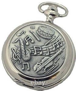 Music Aficionado Mechanical Hunter Pocket Watch Instrument Cover Mens Gift Aewuk
