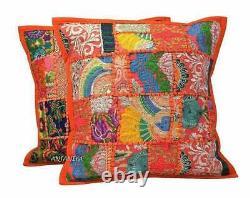 Orange Patchwork Cushion Cover Handmade Boho Indian Pillow Case Home Décor Nouveau