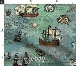 Pirate Carte Navires Ocean Anchor Sailor Nautical Sea Sateen Duvet Couverture Par Roostery