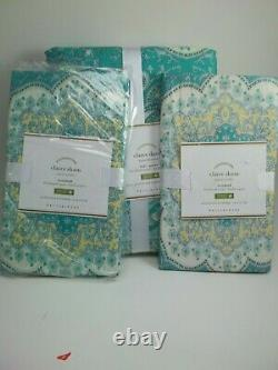Pottery Barn Claire Duvet Cover Full Queen With Standard Shams Scarf Print #2005