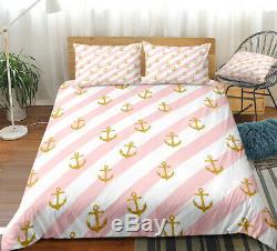 Rose Blanc Stripe Ocean Anchor Double Couette Simple Couette Oreiller Ensemble Housse De Lit
