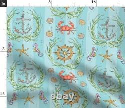 Sea Stripe Seahorse Starfish Anchor Nautical Sateen Duvet Couverture Par Roostery