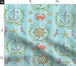 Sea Stripe Seahorse Starfish Anchor Nautical Sateen Duvet Cover By Roostery