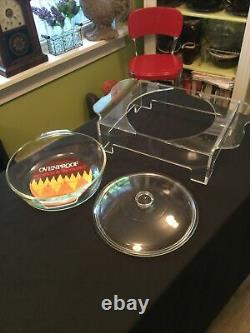 Vintage Nos Plex-art Lucite Support De Service Anchor Hocking Casserole Covered Dish
