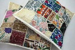 White Patchwork Cushion Cover Handmade Boho Indian Pillow Case Home Décor Nouveau